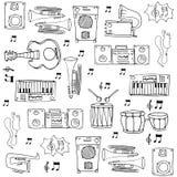 Klotter av objektmusiktemat Fotografering för Bildbyråer