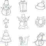 Klotter av plan julvektorkonst Royaltyfria Bilder