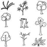 Klotter av träd- och bladhandattraktion Fotografering för Bildbyråer