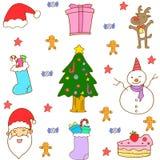 Klotter av vektorn för full färg för jul Royaltyfri Fotografi