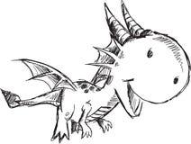 Klotter Dragon Vector Royaltyfri Bild