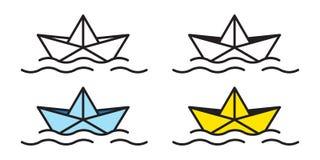 Klotter för illustration för hav för flöte för yacht för segelbåt för papper för logo för origami för fartygvektorsymbol nautiskt royaltyfri illustrationer