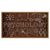 Klotter för kritabräde med symboler på psykologi Royaltyfri Fotografi