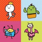 Klotter för pojkekaktusmonster Royaltyfria Bilder