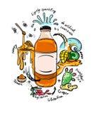 Klotter som dricker flaskan med naturliga ingredienser Arkivfoto