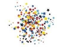 Klotter som flyger stjärnakonfettibakgrund royaltyfri illustrationer