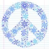 klotter tecknad sketchy snowflake för handfredtecken stock illustrationer