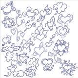 klotter tecknade inställda handhjärtor Royaltyfri Fotografi