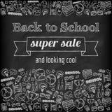 Klotter tillbaka till den toppna försäljningsaffischen för skola Arkivbild