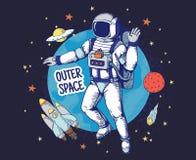 Klotterastronaut Gör mellanslag utdragna utrymmepojkar affischen, planetstjärnor för handen objekt, astronomitecknad filmbestånds stock illustrationer