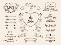 Klotterbeståndsdelar för valentin- eller bröllopdesign Räcka utdragna pilar, hjärtor, avdelare, bandbaner vektor för set för teck Royaltyfri Bild