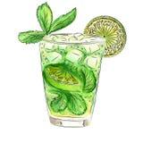 Klottercoctail med mintkaramellen och limefrukt Fotografering för Bildbyråer