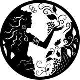 klotterdruvor silhouette kvinnan Royaltyfria Bilder