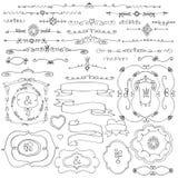 Klottergräns, ram, skissad ribbonstHand Förälskelse royaltyfri illustrationer