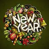 Klotterillustrationen för det nya året anmärker och beståndsdelaffischdesignen royaltyfri illustrationer