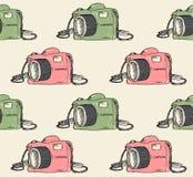 Klotterkamera med isolerade modellen för hipster den färg arkivbild