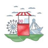 Klotterkarnevalet shoppar med sockervadden och lekar vektor illustrationer