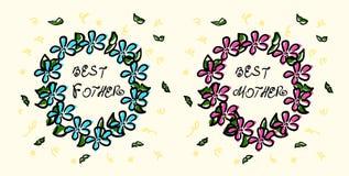 Klotterkrans med inskriften den bästa fadern och den bästa modern Knapphändig teckning bl? blommapink Gr?n l?vverk stock illustrationer