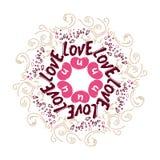 Klotterkrullning Gulliga hj?rtor Romantisk design för vektor med handteckningen som märker förälskelse u Mandalabakgrund wallpape stock illustrationer