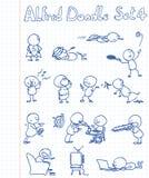 klotterset för 4 alfred stock illustrationer