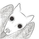 Klotterslagträhuvud Nattdjur Zen Tangle Royaltyfri Foto