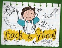 Klotterteckning i ett anteckningsbokpapper för tillbaka till skolan, vektorillustration Royaltyfria Foton