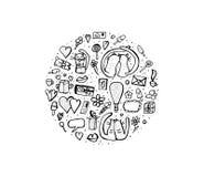 Klotteruppsättning med gulliga förälskelsesymboler också vektor för coreldrawillustration royaltyfri illustrationer