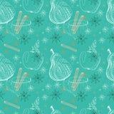 Klottra bakgrund med äpplet, päronet och snöflingor, sömlös patt Arkivbilder