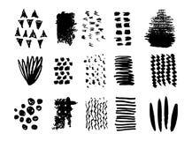Klottra borsteslagl?ngder st?ller in, best?ndsdelen f?r vektorlogodesignen Enkla texturer f?r din design stock illustrationer