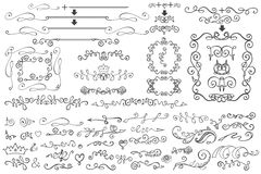 Klottra den blom- gränsen, ramen, dekorbeståndsdel Hand royaltyfri illustrationer