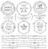 Klottra den florish sömlösa gränsen, kransen, ramen, logo vektorillustration som isoleras på vit bakgrund royaltyfri illustrationer