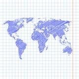 Klottra den knapphändiga målade världskartan på ett skolaanteckningsbokark Royaltyfri Bild