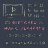 Klottra handen drog musikbeståndsdeluppsättningen, skissa vektor illustrationer