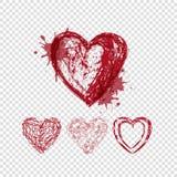 Klottra hjärtor med fläckar och linjer, valentindag Arkivfoton