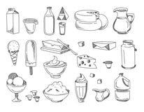 Klottra mejeri och mjölka produkter Drog symboler för vektor hand royaltyfri illustrationer