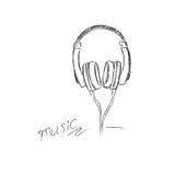 Klottra, utforma, hörlurar, vektorn, illustrationen, musikal, Royaltyfri Fotografi