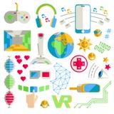 Klottra vektorsamlingen av virtuell verklighet och innovativ techn Arkivbild