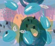 Klottrade blåa plommoner på purpurfärgade detaljer för markör Fotografering för Bildbyråer