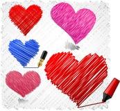 klottrade hjärtor Fotografering för Bildbyråer