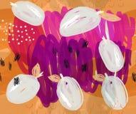 Klottrade plommoner på purpurfärgade detaljer för markör Arkivfoton