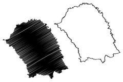 Klottrar administrativa uppdelningar f?r det Botosani l?net av Rum?nien, f?r region?versikt f?r utveckling Nord-Est illustration  stock illustrationer