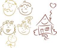 klottrar den lyckliga familjen Arkivbilder