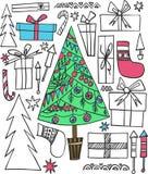 Klottrar det nya året för abstrakt härlig konstnärlig grafisk flerfärgad älskvärd ferie stock illustrationer