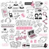 Klottrar det utdragna sociala massmedia f?r hand upps?ttningen vektor illustrationer