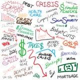 klottrar ekonomi royaltyfri illustrationer