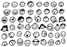 klottrar emoticonen Arkivfoto