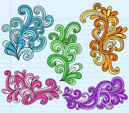 klottrar för anteckningsboken den psychedelic för seten vektorn swirly vektor illustrationer