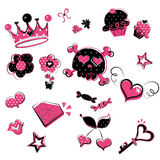 klottrar girlish wild Royaltyfri Illustrationer