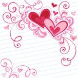 klottrar hjärtor fodrat sketchy anteckningsbokpapper Arkivbild