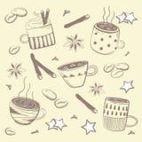 Klottrar kaffeuppsättningen Vektor för frukost stock illustrationer
